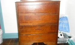Antique Silky Oak chest of drawers