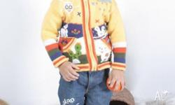 These colourfull jumpers for children are handmade and