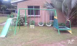 (SOLD PENDING COLLECTION)Swing set + trampoline, in