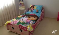 Pink single car bed with single mattress, has been