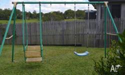 Swing set in fair/good condition. The children have