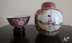 Chinese Antique Familley Rose Porcelain Jar& Bowl