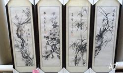 4 Seasons Chinese Brush Paintings on Rice Paper Size: