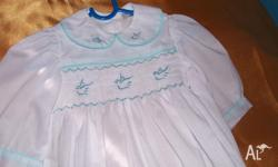 smocked handmade hand embroidered gowns come with hat