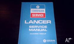 Chrysler Lancer Chassis Service Manual Genuine Factory