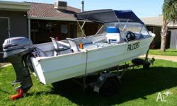 Clark 4.2 metre Aluminium runabout. This boat is a
