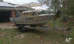 Clark 4m tinny with 25hp yammaha that has a generator