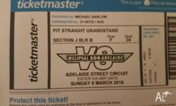 CLIPSAL 500 TICKETS UP FOR SALE SECTION J BLK B ROW F /