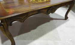 Coffee Table Solid Timber Top / Floral Design Finish