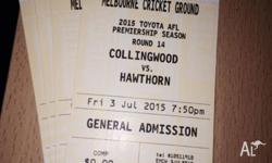 4 family tickets Melbourne cricket round 14 on Friday 3