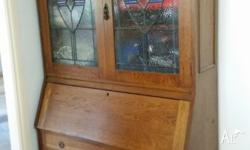 Silky Oak, timber cabinet with fold down desk,