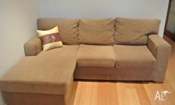 Super comfy sofa/ couch with chaise, 6 years old but