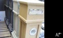 Concrete Letterbox with, Steel fittings, Garden