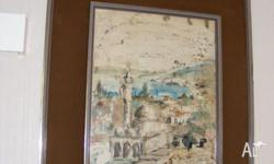 Contemporary Framed Print Scene of Port City in Israel