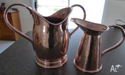 2 SOLID Copper Jugs. Ideal for decoration. Both jugs