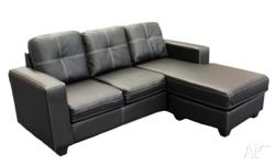 Modern sofa with Chaise in Black colour. Made of the