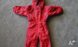 Size 2, red all-in-one ski suit. Appropriate for boy or