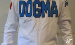 KAPPA BRAND. WHITE WITH SEWN ON PATCHES-BLUE DOGMA