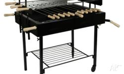 The heavy duty charcoal BBQ 5 spit rotisserie is an