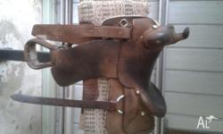 "16"" Roughout Dan Miller Western Saddle with back"