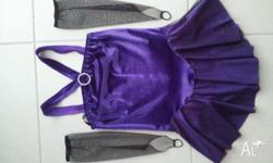 Purple dance/skating costume/leotard. Approx size 6-10.