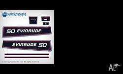 DECAL SET FOR 1981 EVINRUDE 50HP OUTBOARD MOTOR COVER.