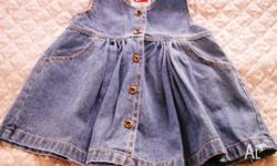 Designer Baby Denim Dress with Bronze Buttons and side