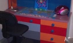 child's funky coloured desk and chair, both in good