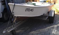!3 foot dinghy made of marine ply, steel trailer and