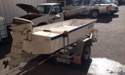 Tri hull dingy on trailer with 9.9hp Johnson ... Great