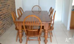Solid timber table 1830 x 1070 with 8 chairs -