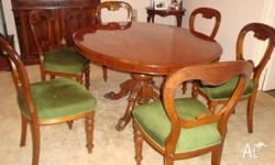 Oval dining table and 6 cedar dining chairs. good