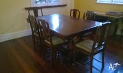 Antique Dining table, with 6 chairs, plus matching