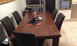 6 Seater Dinning table with leather Padded Chairs