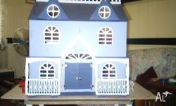 Dolls House fully furnished with moveable stand suit