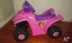 pink Dora toy car operated with rechargeable battery,