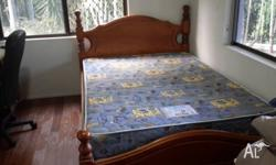 Solid timber bed with mattress, both in great