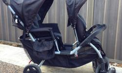 BOOTIQ Double Pram. Back lays down for baby. Toddler