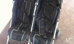 DOUBLE STROLLER PRAM WITH FEET AND RAIN COVER IN GREAT