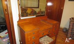 Pre WW2 Dressing Table with mirror & stool.