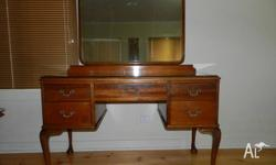 Antique 5 Drawer Dresser with glass top and Mirror A