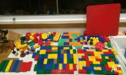 Lego duplo with Henry the train, board, bridge, cat,