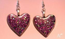 Pink Glitter heart earrings. Sparkles a lot, picture