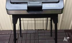 Breville portable electric BBQ grill, glass lid, stand,