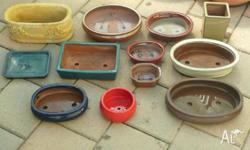 Eleven (11) Bonsai Pots in various sizes and colours