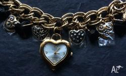 Elite Ladies Antique Gold Lucky Charm Bracelet Watch -