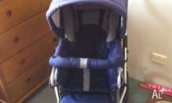 Blue and Grey Emmaljunga Mondial Duo Pram with all