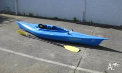 Emotion Single Kayak with kayak paddle and leash. Great