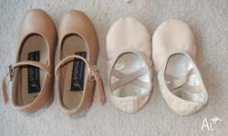 Size 7.5 Energetiks tap shoes and size 7 ballet shoes
