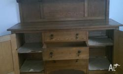 Early 20th Century English oak sideboard. Very sound